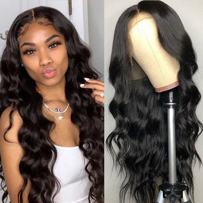 ReadyWig Black Body Wave Human Hair Lace Front Wig 24 Inches - Customized