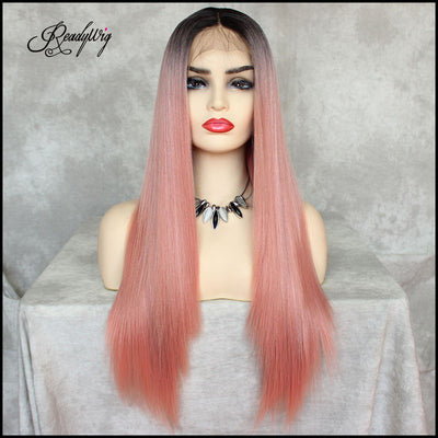 ReadyWig Pink Long Straight Synthetic Lace Front Wig 24 Inches with Dark Roots