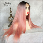 the best quality long straight synthetic lace front wig 180% Density