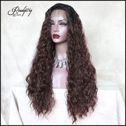 Synthetic Wigs Long Wavy Heat Resistant Fiber Hair Wigs Loose Curly Half Hand Tied Wigs