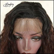 Brown Wig Dark Roots Loose Wavy Hair Lace Wig Daily Wig for Black Women