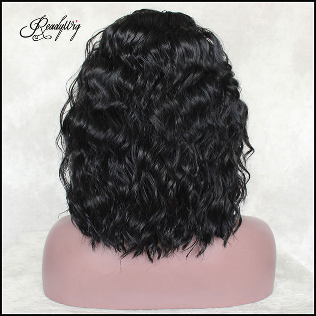 Short Wavy Lace Wig Black Wigs with Natural hairline and babyhair