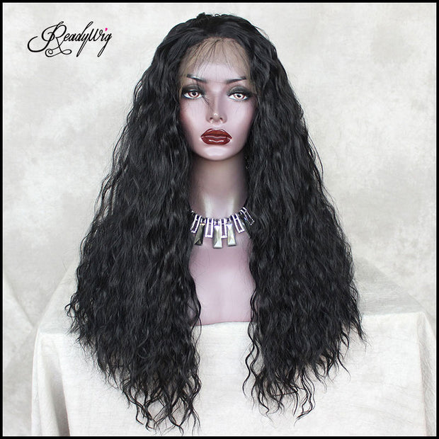 black silky straight loose wavy hair with baby hairs and pre-plucked hairline