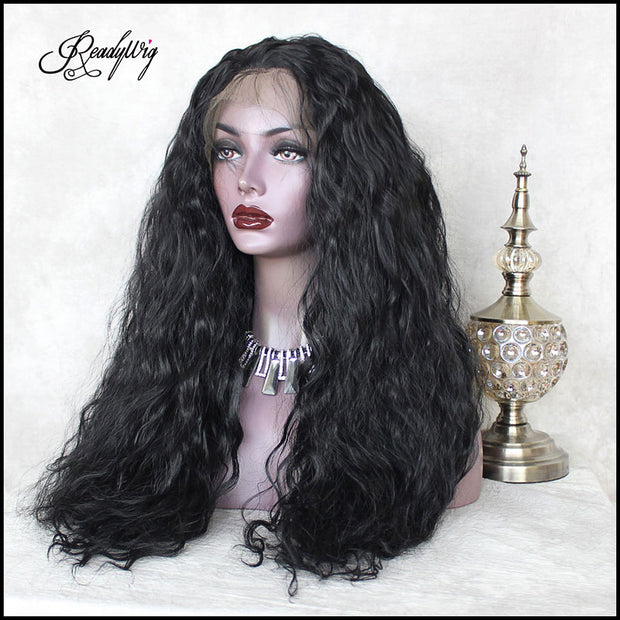 top-quality 13x6 black straight synthetic lace front wig