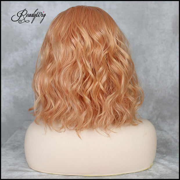 Short Wavy Lace Front Wigs 150 Density Orange Color Synthetic Wig Natural Glueless Heat Resistant Fiber
