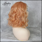 Shoulder-length Wavy Lob Hairstyle Synthetic Lace Part Wigs with babyhair