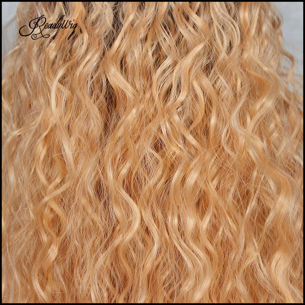 Orange Wig with Dark Root Water Loose Wave Lace Wig Swiss Lace Front Wig with baby hair