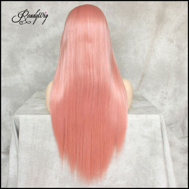 Pink Silky Straight Hair 13*6 Synthetic Lace Front Wig