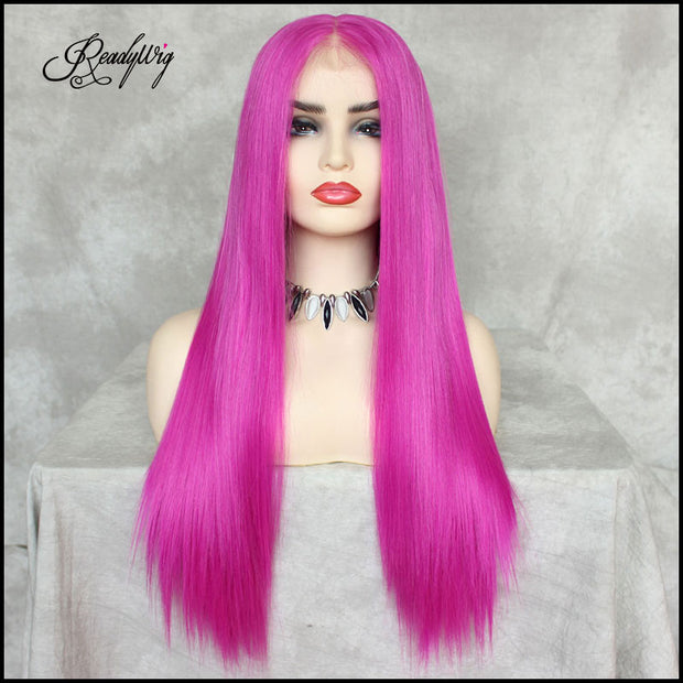 Neon Pink Silky Straight Hair 13*6 Synthetic Lace Front Wig 22 Inches
