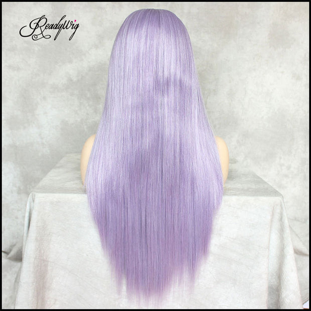 Lavender Purple Silky Straight Hair 13*6 Synthetic Lace Front Wig 22 Inches