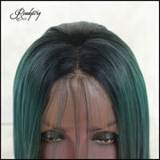 straight green wig long hair wig invisible lace front wig for black women