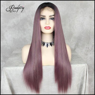 straight purple wig long hair wig swiss lace wig for black women