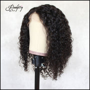 ReadyWig Black Jerry Curly Short Bob Human Hair Lace Wig 14 Inches