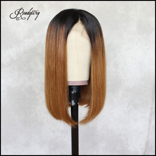ReadyWig Brown Long Bob Dark Roots Human Hair Lace Wig 16 Inches