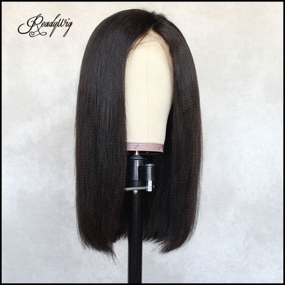 yaki straight wigs long black hair wigs ong silky black wig Remy human hair wig invisible lace frontal wig for black women