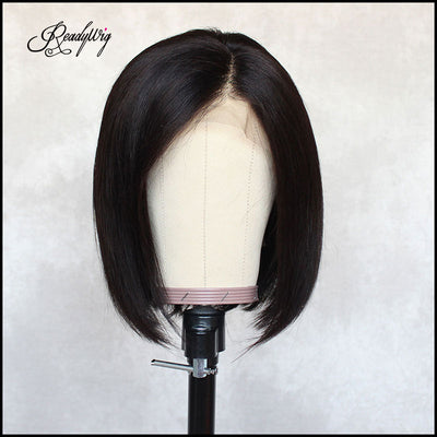 ReadyWig Black Short Bob Human Hair Lace Wig 12 Inches