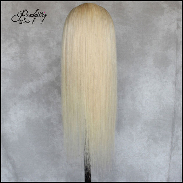 """straight long silky blonde wig Remy human hair wig blonde hair works well with every color shade and styles"""