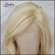blonde human hair wavy wigs Remy human hair transparent lace frontal wigs for girls