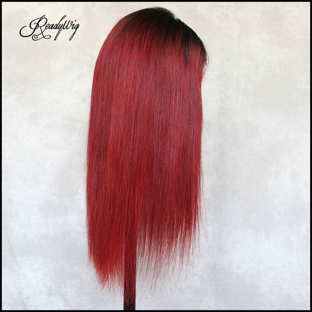 18 inches red human hair wig with dark roots