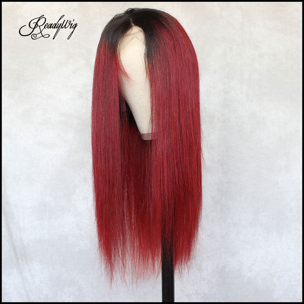 readywig red straight human hair wig with breathable hair net