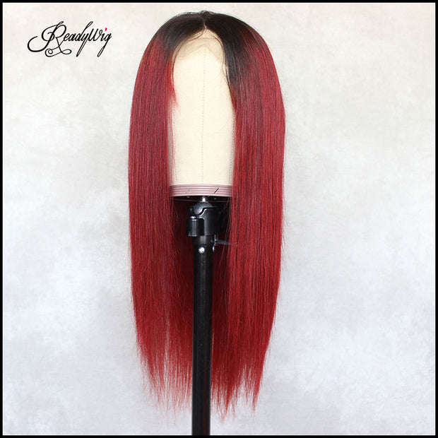 Red Straight Dark Roots Human Hair Lace Wig 18 Inches