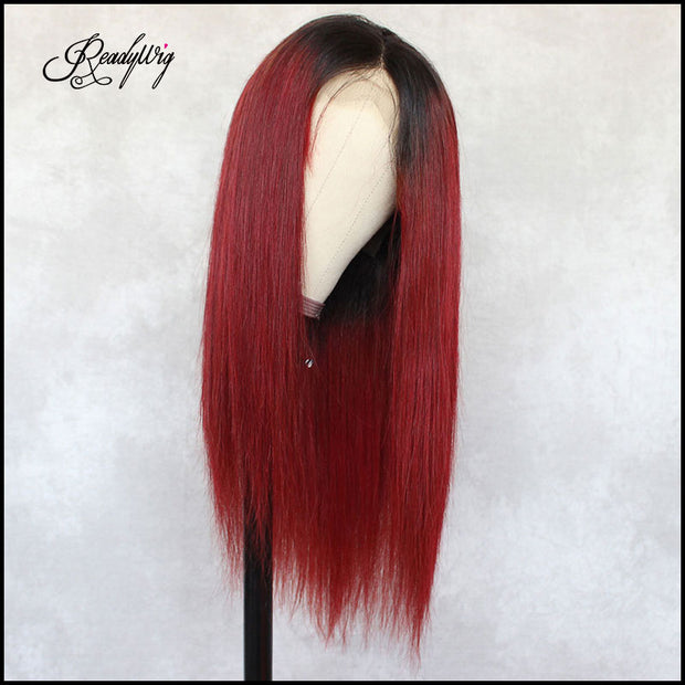 readywig red long straight human hair wig with dark roots