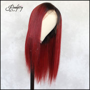 red straight human hair wig