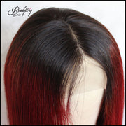 red human hair with dark roots hairline