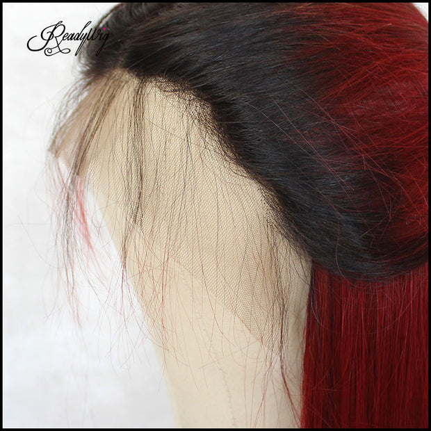 ReadyWig Red Straight Dark Roots Human Hair Lace Wig 18 Inches
