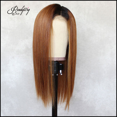 Brown Straight Dark Roots Human Hair Lace Wig 16 Inches