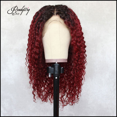 Red Kinky Curly Human Hair Lace Wig 18 Inche