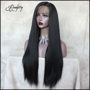 black Yaki straight synthetic wig with pre-plucked babyhair