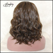Short Wavy Lace Front Wigs 130 Density  Dark Brown Color