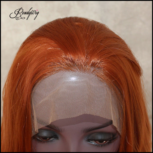Lace Front Wig bright orange Synthetic Wigs Loose Wave Half Hand Tied Wigs For Women