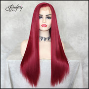 Red Synthetic Wigs Heat Resistant Wigs for Women  Natural Looking Free Parting Hairline Fashion Looking Wigs