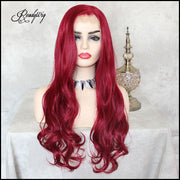Red Lace Front Wig Natural Looking Silky Straight Free Parting Heat Resistant Lace Glueless Synthetic Wig
