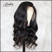 ReadyWig Black Body Wave Human Hair Lace Wig Side Part 22 Inches