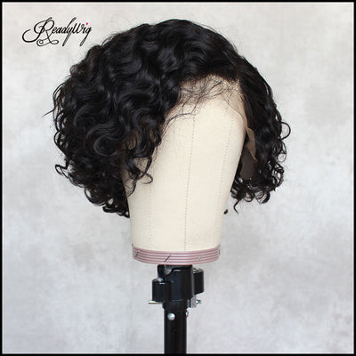 ReadyWig Black Curly Short Bob Human Hair Lace Wig 8 Inches