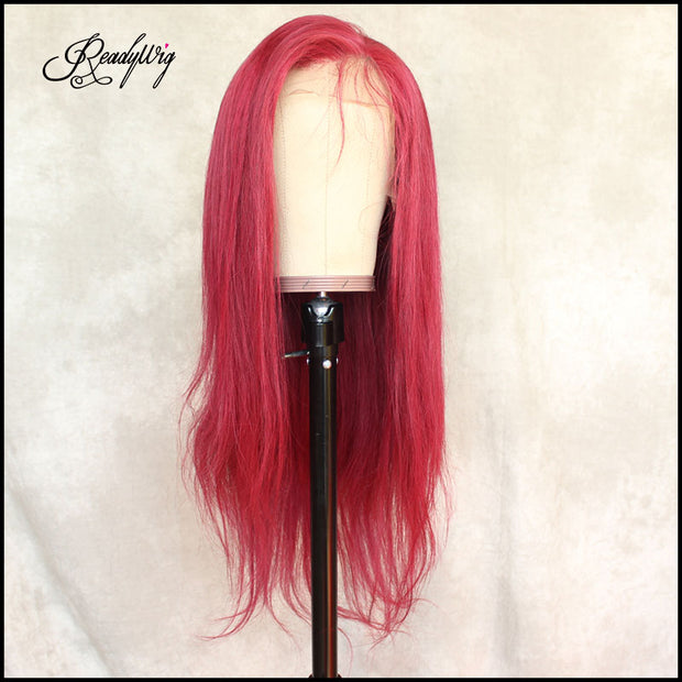 ReadyWig Red Straight Human Hair Lace Wig 22 Inches