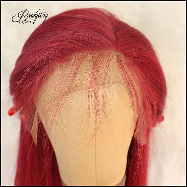 silky straight red color human hair lace wig with free part space