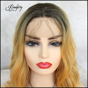 ReadyWig Blonde Wavy Short Hair Rooted Synthetic Lace Front Wig 16 Inches