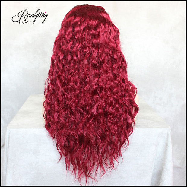 ReadyWig Red Loose Curly Synthetic Lace Front Wig 24 Inches with Dark Roots