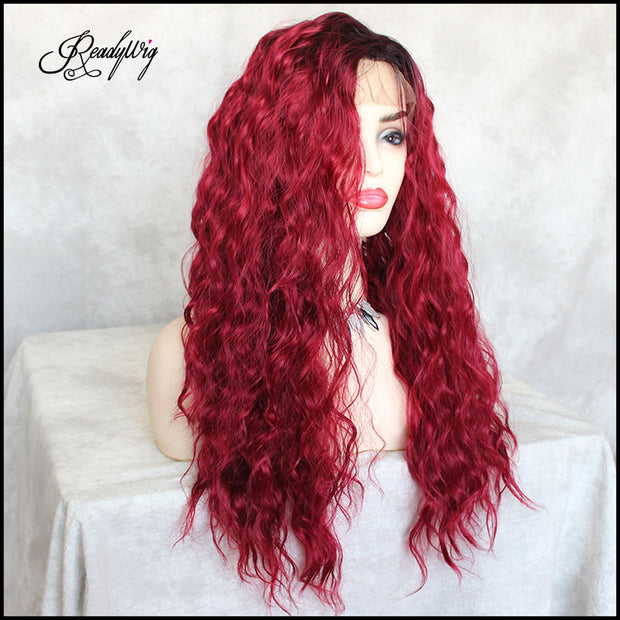 long red curly sythetic wig with soft fiber and baby hairs