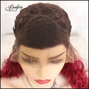quality pre-plucked red curly synthetic lace wig for balck women