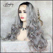 pre-plucked grey color synthetic lace fornt wig with baby hairs and dark roots