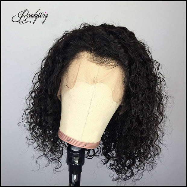 curly hair wig short cut lace frontal wigs black bob wig for black women