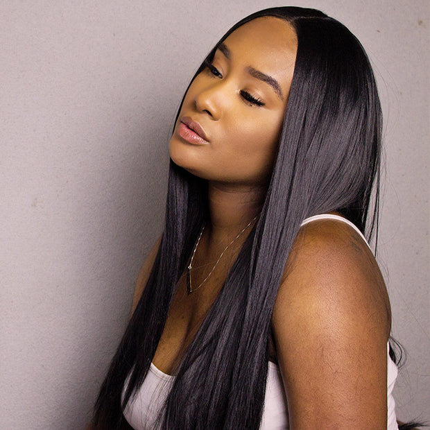 ReadyWig Black Silky Straight Synthetic Lace Front Wig 22 Inches