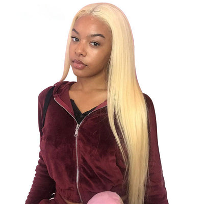 ReadyWig 613 Blonde Silky Straight Human Hair Lace Front Wig - Customized
