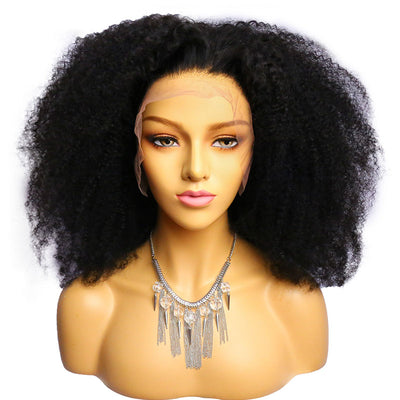 ReadyWig Black Afro Kinky Curly Human Hair Lace Front Wig