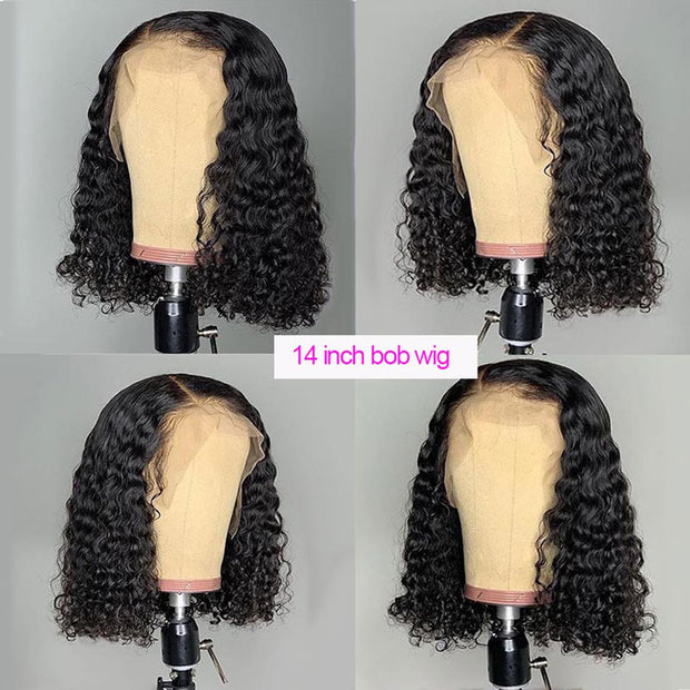 ReadyWig Black Deep Curly Short Bob Human Hair Lace Front Wig